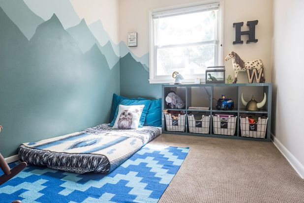 "The decor in son Woods' room is nature-inspired. ""The floor mattress is a  developmental idea from the Montessori school of thought,"" Taylor says.  The bedspread was discounted at Target, and the blanket, which is  actually a rug, was a cheap estate sale find that they bought and had  cleaned. Eclectic Kids by Sarah Terranova"