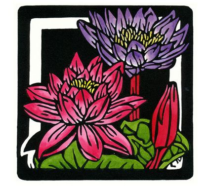 Waterlilies Square - Limited Edition Handpainted Linocuts by Lynette Weir