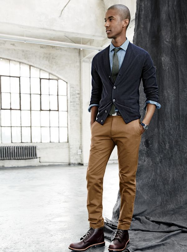 SEP '15 Style Guide: J.Crew men's merino cardigan, Albiate 1830 for J.Crew Ludlow shirt in deep atlantic chambray, broken-in chino in 484 fit, English silk noile tie in solid and Chippewa® for J.Crew leather plain-toe boot.