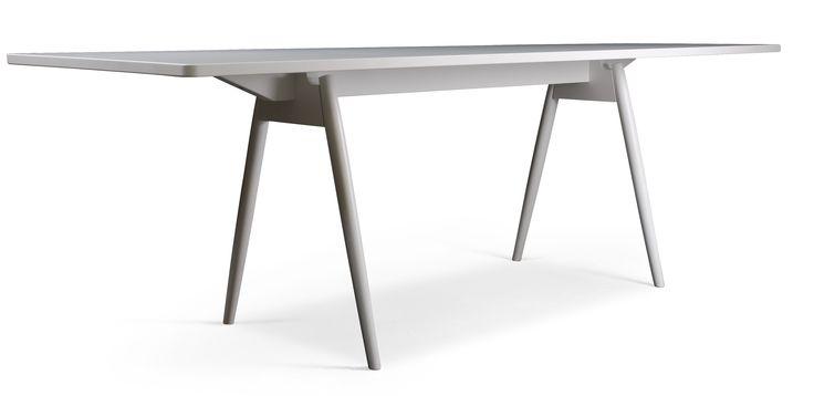 Joiner matbord - Vitlackerad björk med laminatskiva från Ekdahls hos ConfidentLiving.se