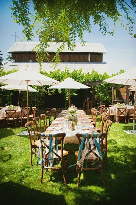 Recreate this Rustic Summer Wedding with our Coco Natural chairs, Sandstone dining tables and umbrellas!!
