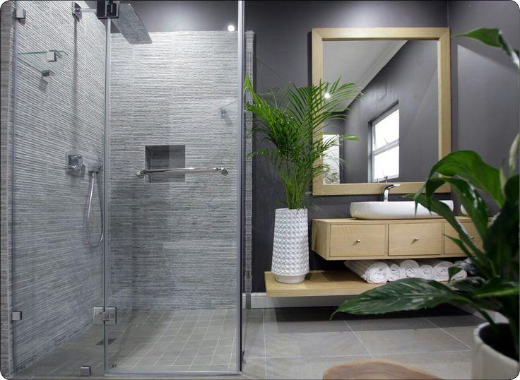 Modern bathroom, bespoke bathroom #jsdinteriors Natural wood, grey bathroom, grey and white, shower texture