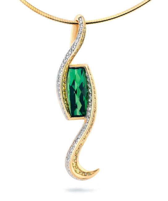18k yellow gold pendant featuring a razorback cut green tourmaline  accented with 0.515ctw white diamonds and 0.58ctw yellow diamonds.