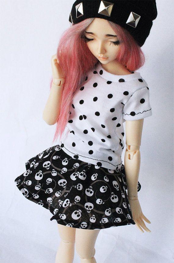MSD BJD clothes Skull print skater skirt by MonstroDesigns on Etsy