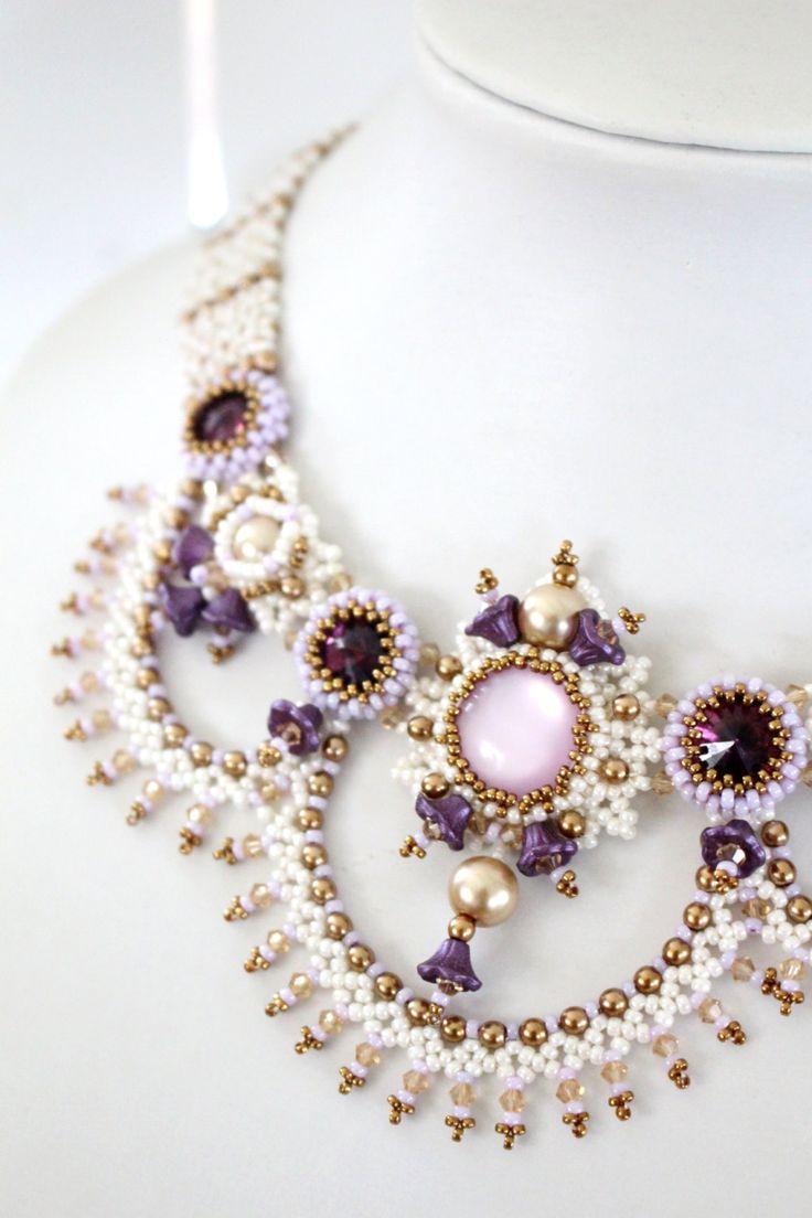 Tutorial for beadwoven necklace 'Aurora' - PDF beading pattern - DIY