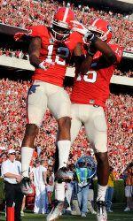 Marlon Brown celebrates Tavarres King's touchdown catch