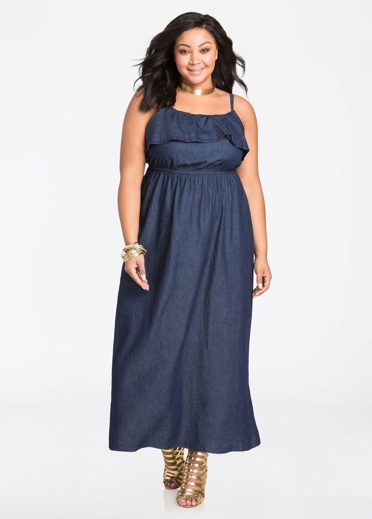Popover Chambray Maxi Dress