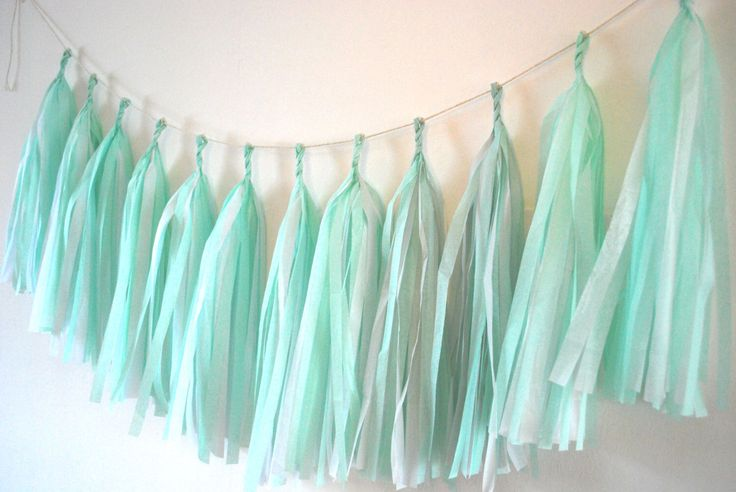 Dolly Mixture Twist  - Mint  and White Tassel Garland - Wedding Decoration// Home Decor // Party Garland by tasselsandtails on Etsy https://www.etsy.com/listing/217544839/dolly-mixture-twist-mint-and-white