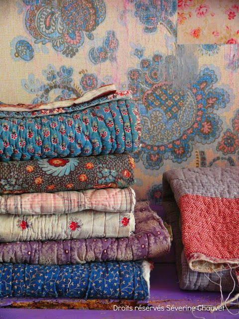 Bohemian Pages: quilt / pretty colors and material choices.