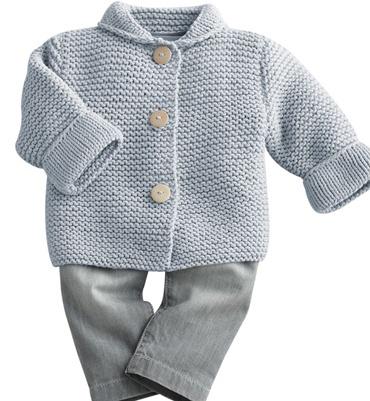 Modèle paletot bébé au point mousse - Modèles tricot layette - Phildar