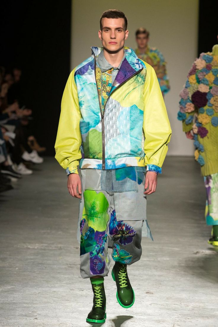 RACHEL JAMES - GRANNY FLOWER MAN POWER Floral printed waterproof jacket with embroidered airtex floral shirt dress and joggers
