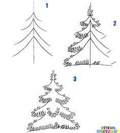 kids learn how to draw a fir tree | crafts & creativity. Basteln & Kreativität . bricolage & creativité | @ e-papa |