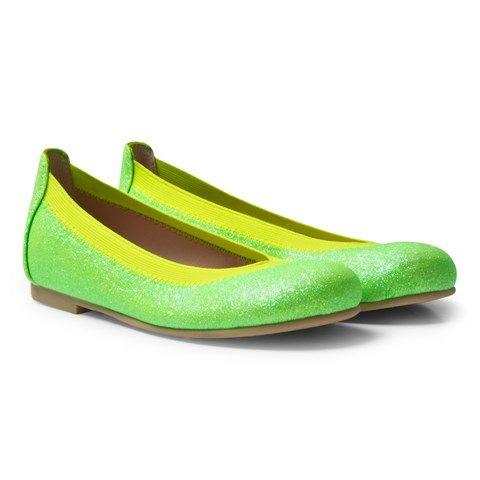 Pretty Ballerinas Green Neon Slip On Hannah Pumps
