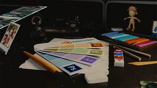Render de cena 3D para imagem de background de website, cycles render - Blender 3D