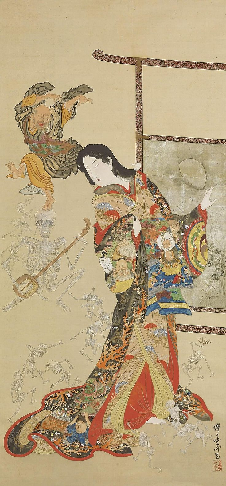 Color in japanese art - Japan Hanging Scroll By Kawanabe Kyosai 1831 1889