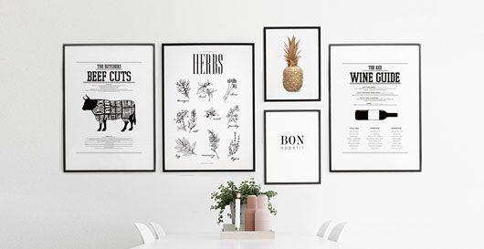 Kökstavlor och posters till kök. Tavlor och prints till tavelkollage i köket. Beställ online.