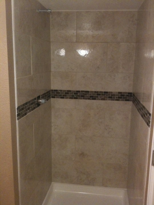 small 36x36 shower decided to use 12x24 tile shower
