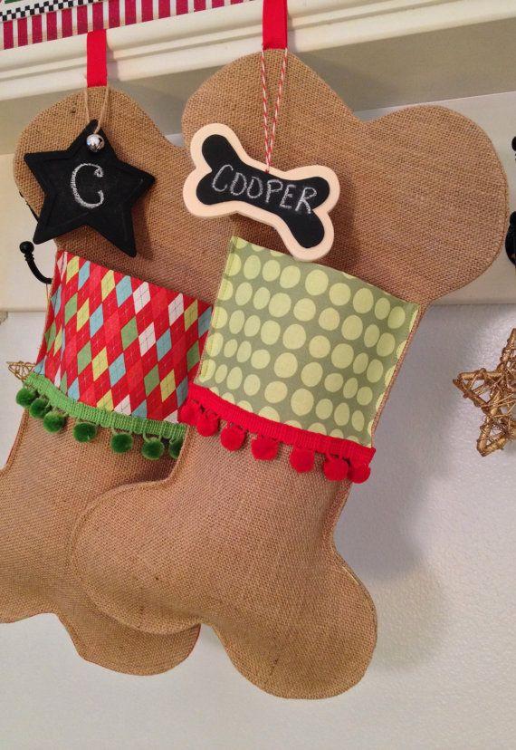 Pet Christmas Stocking Festive Dog Bone by soopertramp on Etsy