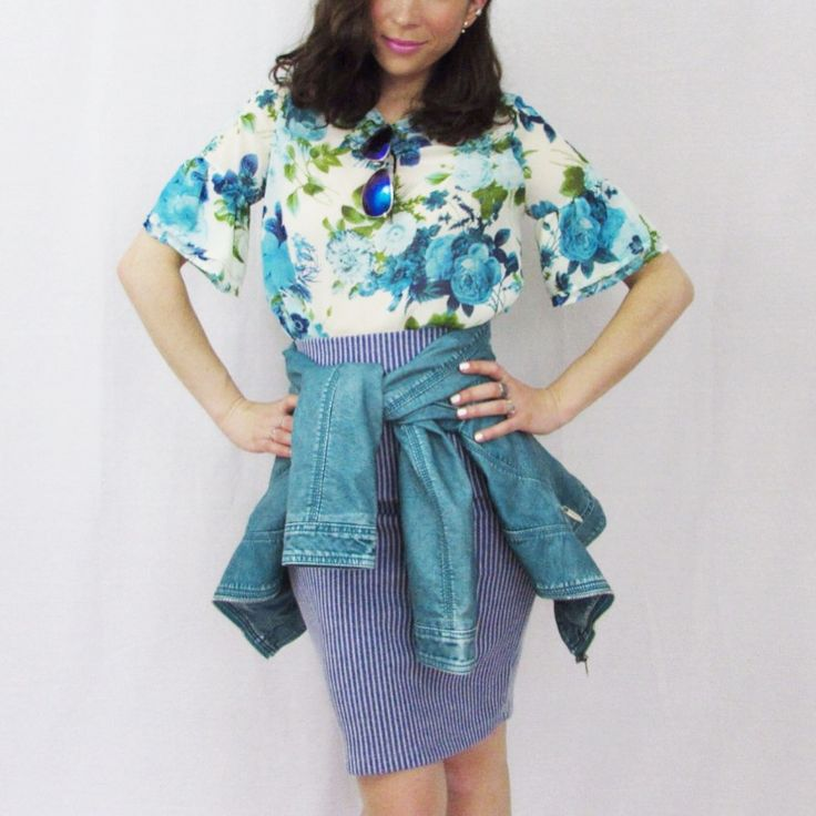 Jupe:$19.98,Chandail:$14.98, Jacket:$69.98 www.republiquecollection.com #mode #fashion #shopping #summer #floral