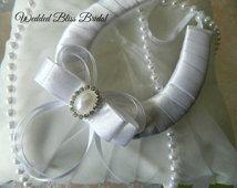 Wedding Bridal Horseshoe charm - White Satin  Horseshoe -Pearl Diamante- Brides Good Luck Horseshoe