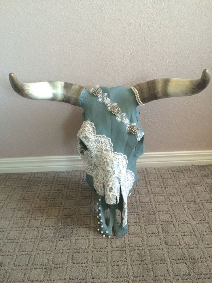 My DIY cow skull with lace, pearls, and rhinestones