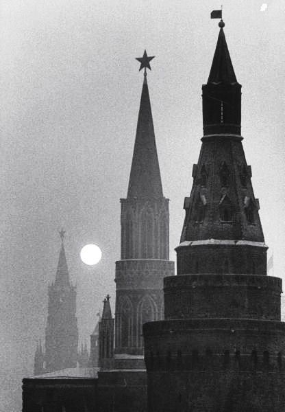 A view of the Kremlin and Spassky Tower. Photograph by Carl Mydans. Moscow, Russia, December 1959