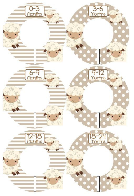 6 Custom Baby Closet Dividers Organizers Beige and Brown Little Lamb Baby Boy Nursery Shower Gift - Clothes Dividers