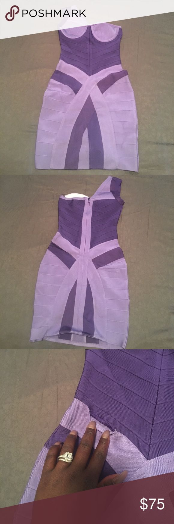 Purple bandage one shoulder dress This is a beautiful dress for a night out it's a very slimming tight it has a little ripped on the fabric but in perfect condition never been worn Dresses One Shoulder