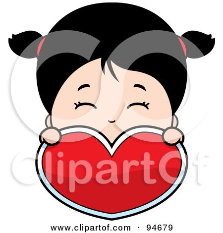 Royalty-Free (RF) Clipart Illustration of a Cute Asian Girl Holding And Looking Over A Red Heart by Cory Thoman