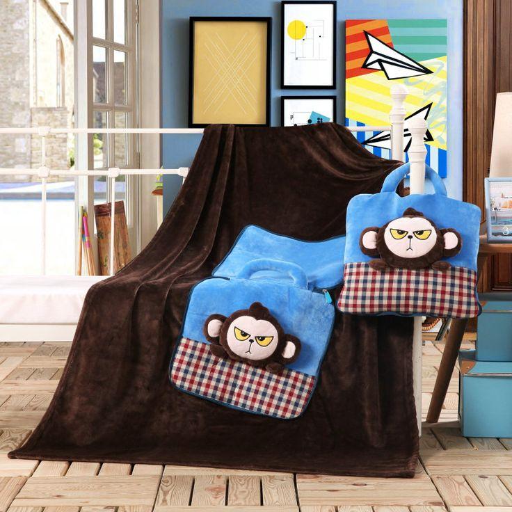 Detská deka tmavo hnedej farby 3v1 s opičkami