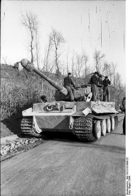 Tiger I heavy tank on a road in Italy, 1944