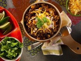 Healthy Bison Chili from from Kelsey Nixon - CookingChannelTV.com (shown with Mean Green Smoothie and Roasted Beet Salad)