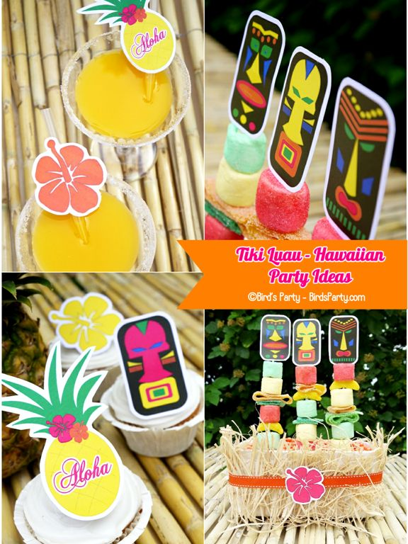 I love a Hawaiian Tiki Luau Party and now I have some free printables from @birdsparty Fun