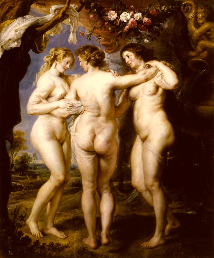 The Three Graces (1639) by Peter Paul Rubens.