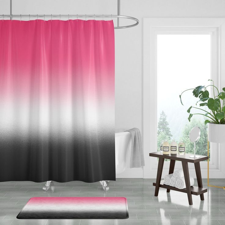 hot pink black white shower curtain and