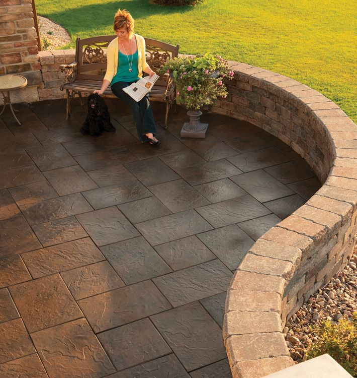 love the tile patio and the retaining wall! really like the curving layout.