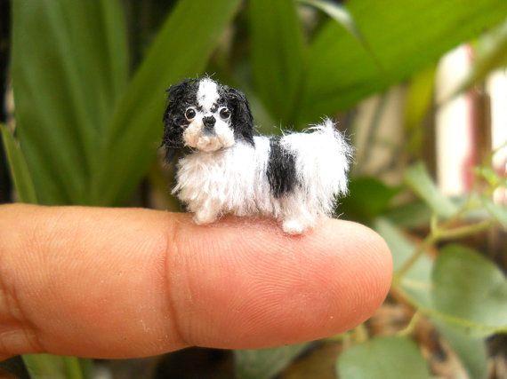 Japanese Chin Puppy  Tiny Crochet Miniature Dog Stuffed от SuAmi
