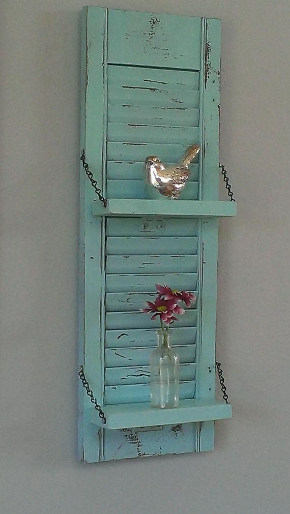 Shabby Chic Aqua Robin's Egg Blue Unique White Wood Shutter Shelf Rustic Wall Decor Country Primitive