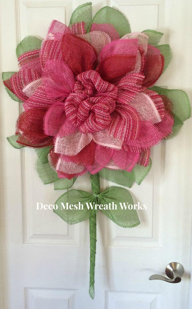 Paper Mesh Flower Wreath, Deco Mesh Flower Wreath, Popular Sunflower Wreath, Flower Wreath, Summer Wreath, Spring Wreath, Garden Wreath by DecoMeshWreathWorks on Etsy