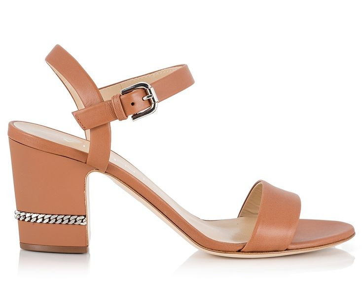 Vicini Camel vitello leather chain-trimmed mid heel sandals  #ViciniShoes #GiuseppeZanotti #Sandals