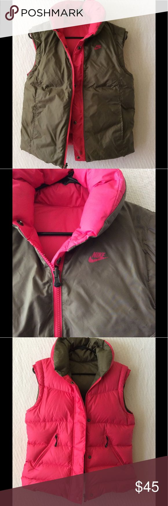 """Nike Reversible Down Feather Puffer Vest Women's Nike Reversible Down Feather Puffer Vest.  Size small; 19"""" width, 23"""" length. Outer body polyester, inner body nylon, and filled with a minimum of 75% grey duck down.  Brown on one side, dark pink on the other, this is a really cute vest.  Very warm and cozy to wear.  In good used condition! The words """"Nike"""" on the brown side are beginning to crack. Nike Jackets & Coats Vests"""