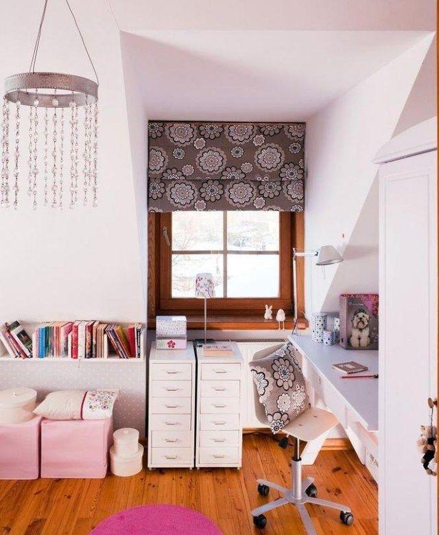 jugendzimmer dachschrge mdchen weie wandfarbe braune rosa dekorationen - Welche Wandfarben Passen Zu Braunen Edlen Mbeln