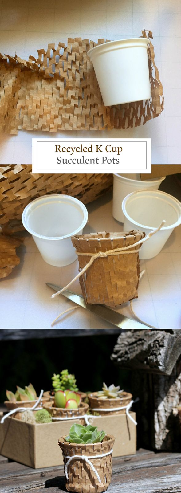 Prevent unnecessary waste and recycle used K Cups by turning them into succulent pots, great for your home or to give as a gift. Click in for the complete guide, courtesy of Carolyn's Homework.