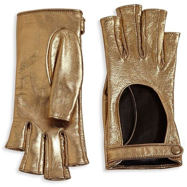 Gucci Women's Donna Metallic Leather Fingerless Gloves - Bronze (32.985 RUB) ❤ liked on Polyvore featuring accessories, gloves, luvas, apparel & accessories, bronze, leather gloves, fingerless gloves, gucci, real leather gloves and gucci gloves