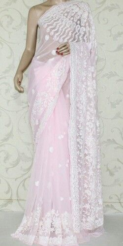 Baby Pink Chikan Saree from amgsquare.com