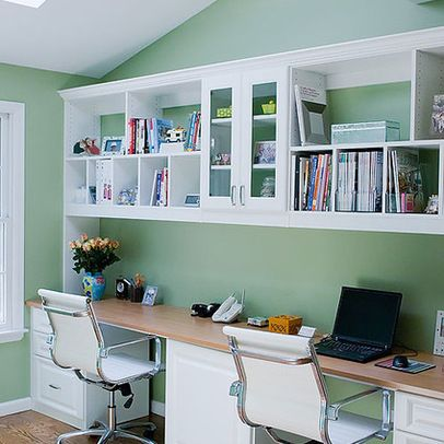 Wall+Desk+Cabinet   Functional home office for two. Center cabinet hides printer. Adequate ...