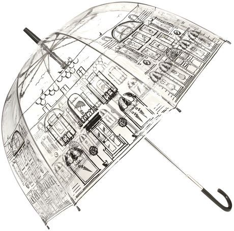 LULU GUINESS ENGLAND   Street Scene Birdcage Umbrella