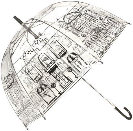 Lulu Guinness Street Scene Birdcage Umbrella in Transparent (clear)