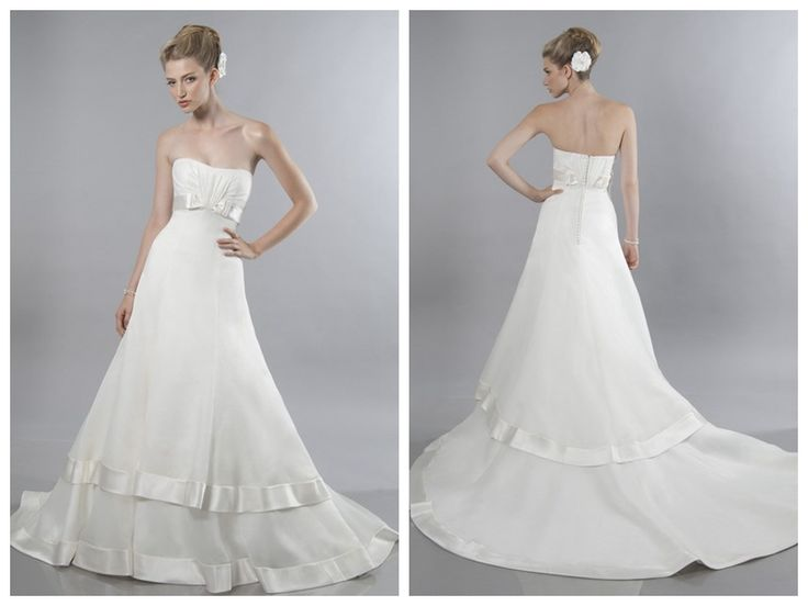 A-line Scoop Chapel Train Organza Floor-length Wedding Dresses