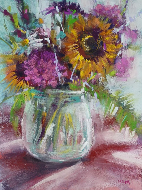 Summer Bouquet Floral Original Pastel by Karen Margulis